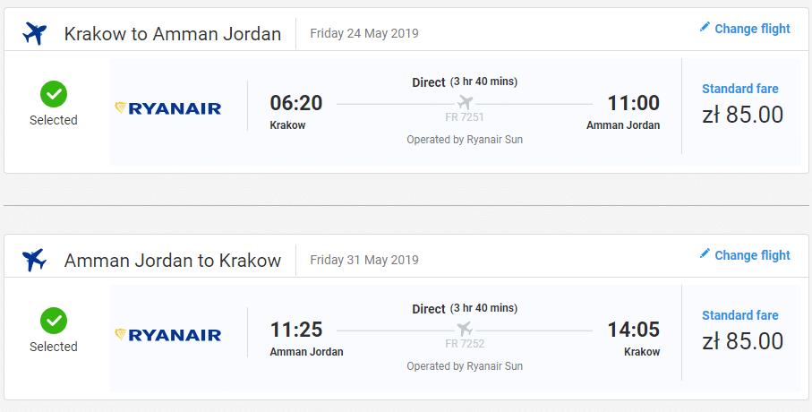 letenky z Krakova do Ammánu