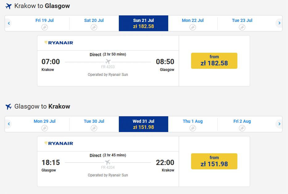 letenky z Krakova do Glasgowu