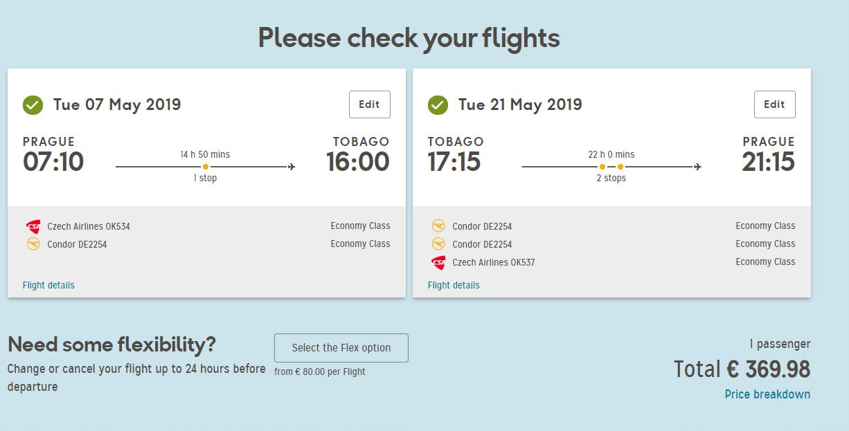 letenky z Prahy do Tobaga