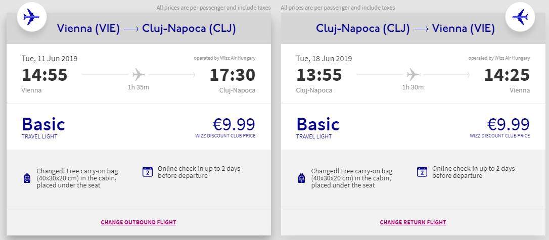 letenky z Viedne do Cluj-Napoca
