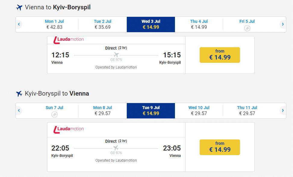 letenky z viedne do Kyjeva