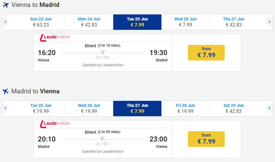 letenky z Viedne do Madridu