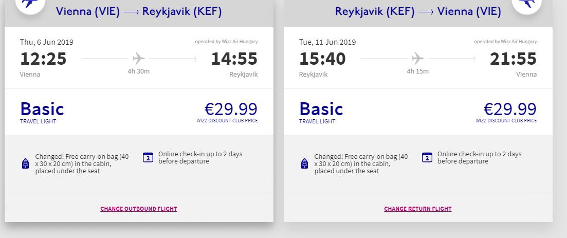 letenky z Viedne do Reykjaviku