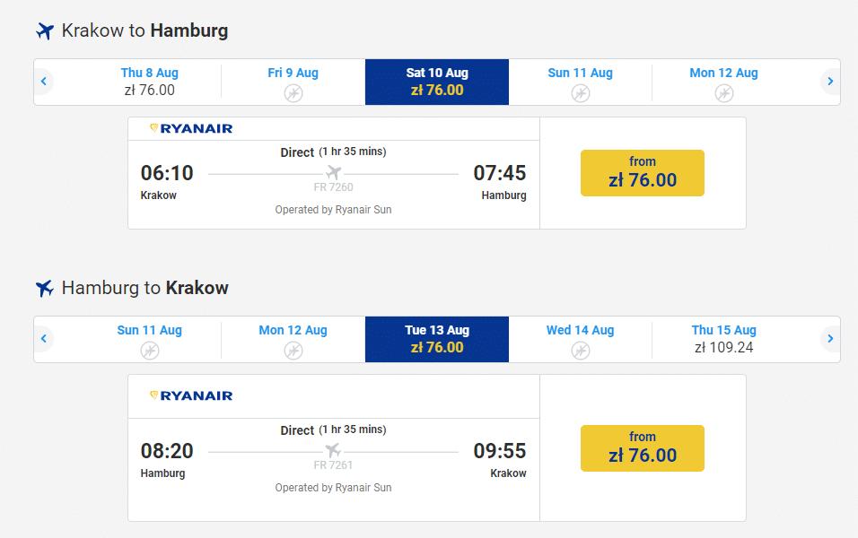 letenky z Krakova do Hamburgu