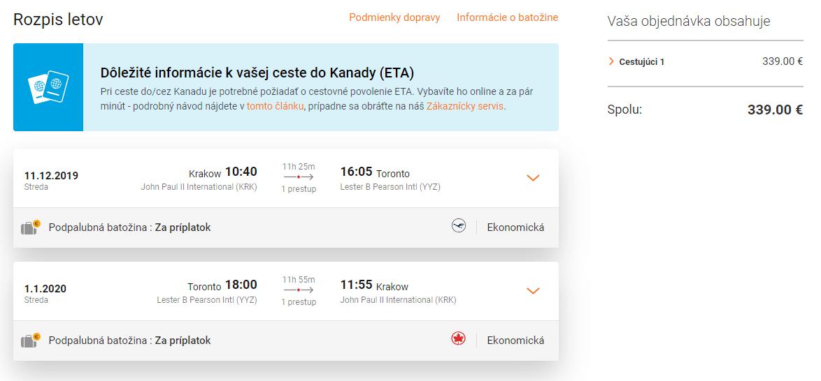 letenky z Krakova do Toronta
