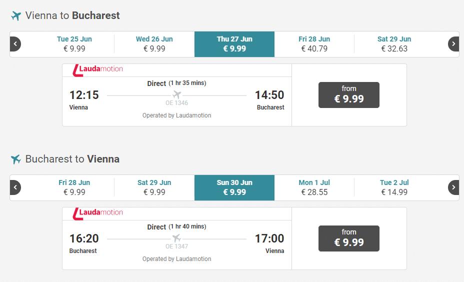 letenky z Viedne do Bukurešti