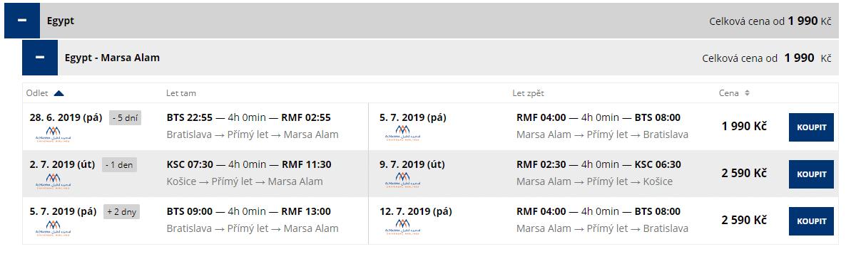 letenky z Bratislavy do Marsa Alam