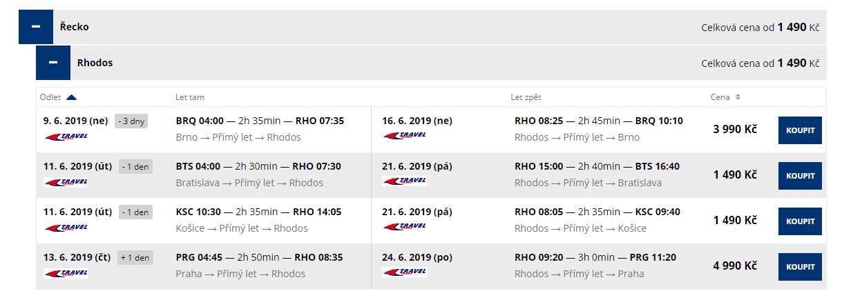 letenky z Bratislavy a Košíc na Rodos