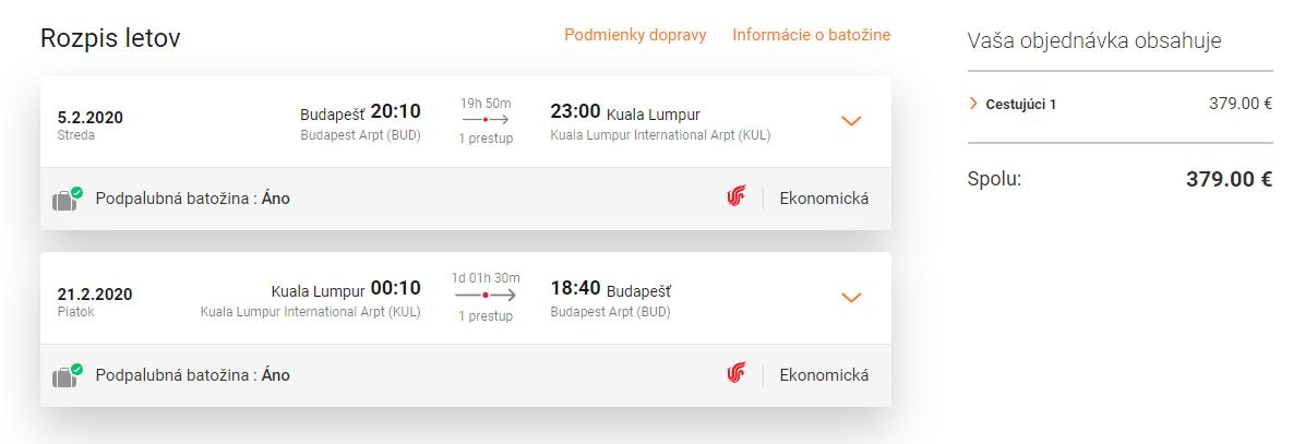 letenky z Budapešti do Kuala Lumpur
