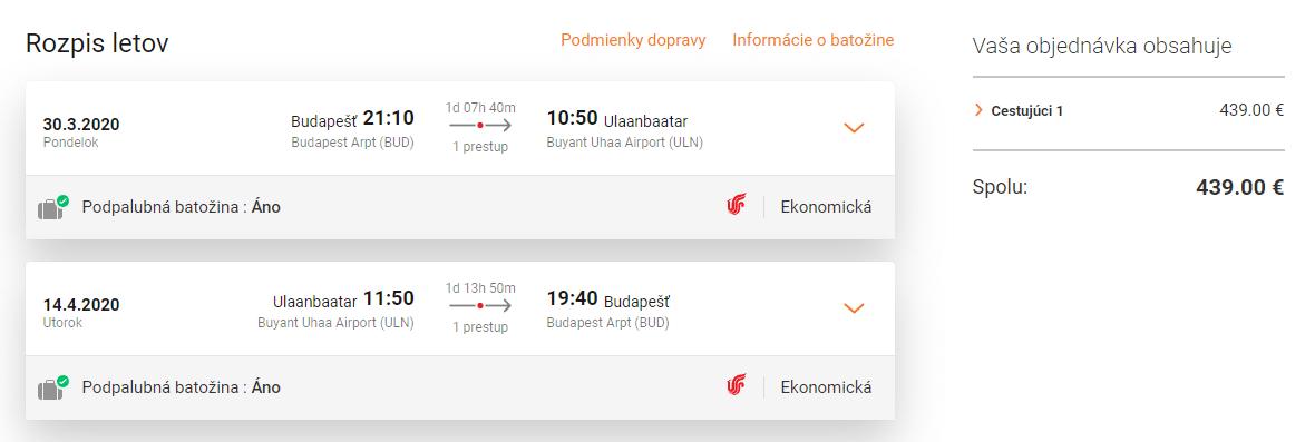 letenky z Budapešti do Mongolska