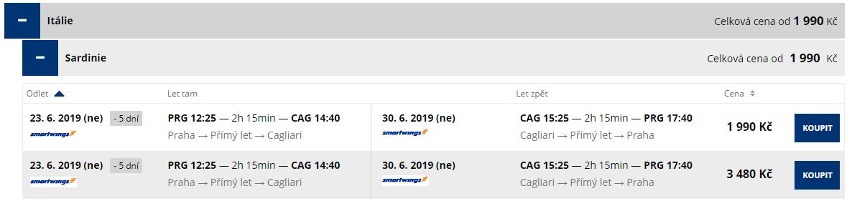 letenky z Prahy do Cagliari