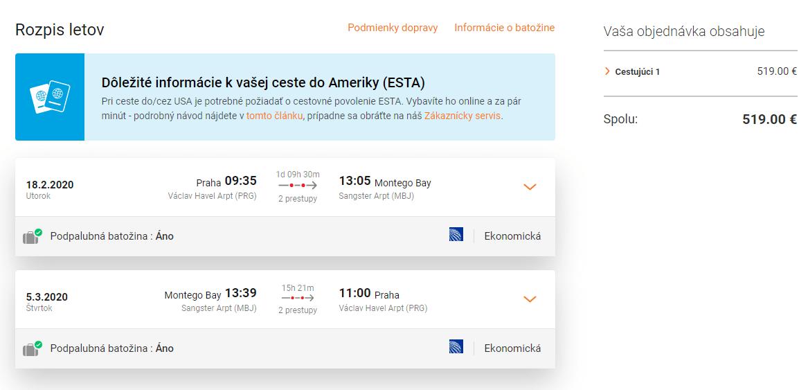 letenky z Prahy do Montego Bay