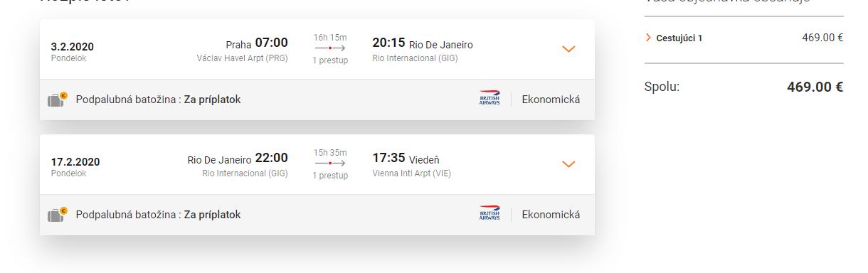 letenky z Prahy do Rio de Janeiro