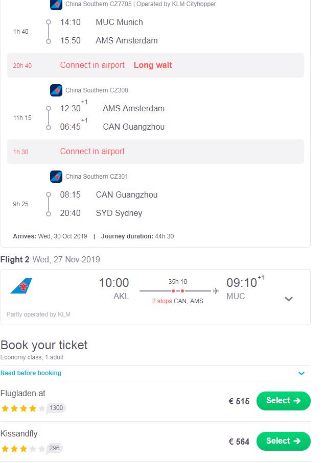 letenky z Mníchova do Sydney s návratom z Nového Zélandu