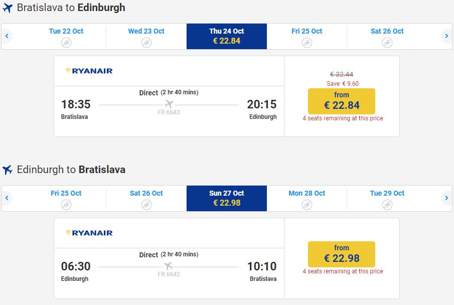 letenky z Bratislavy do Edinburghu