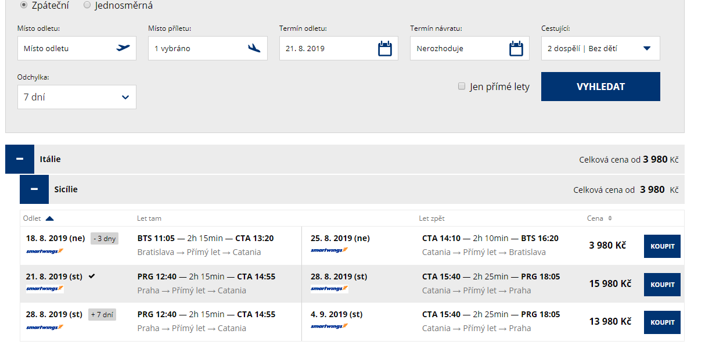 letenky z Bratislavy do Catanie