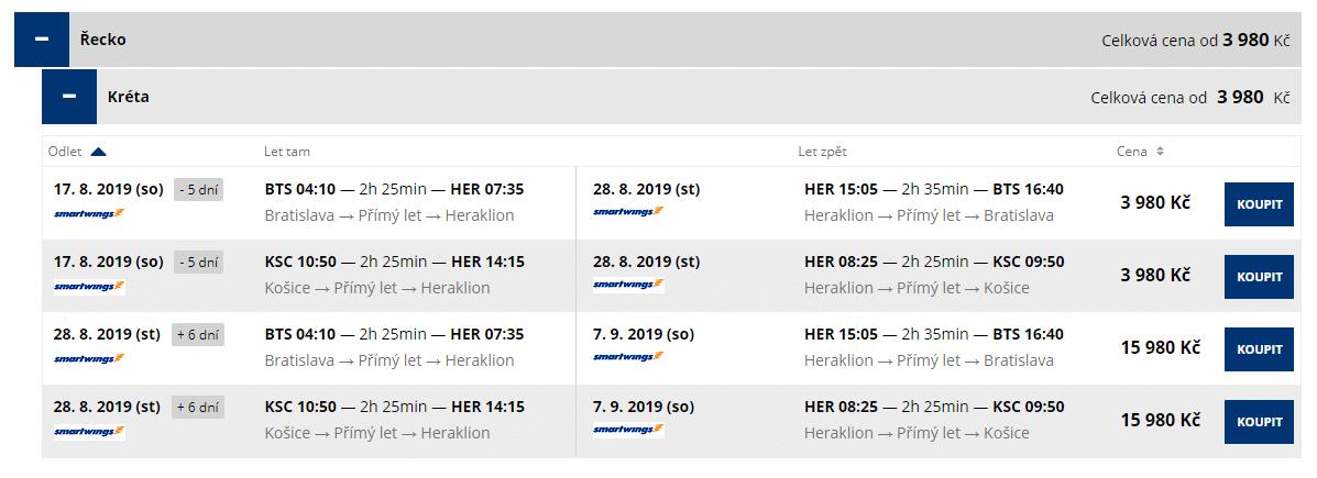 letenky z Bratislavy do mesta Herakion
