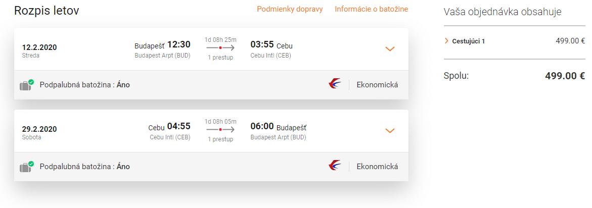 letenky z Budapešti do Cebu