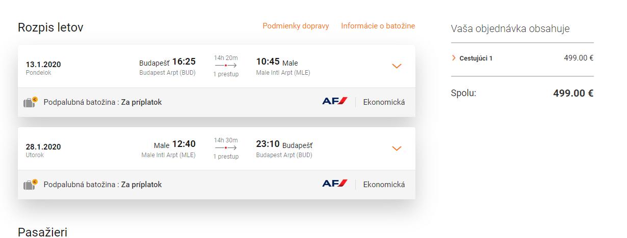 letenky z Budapešti na Male