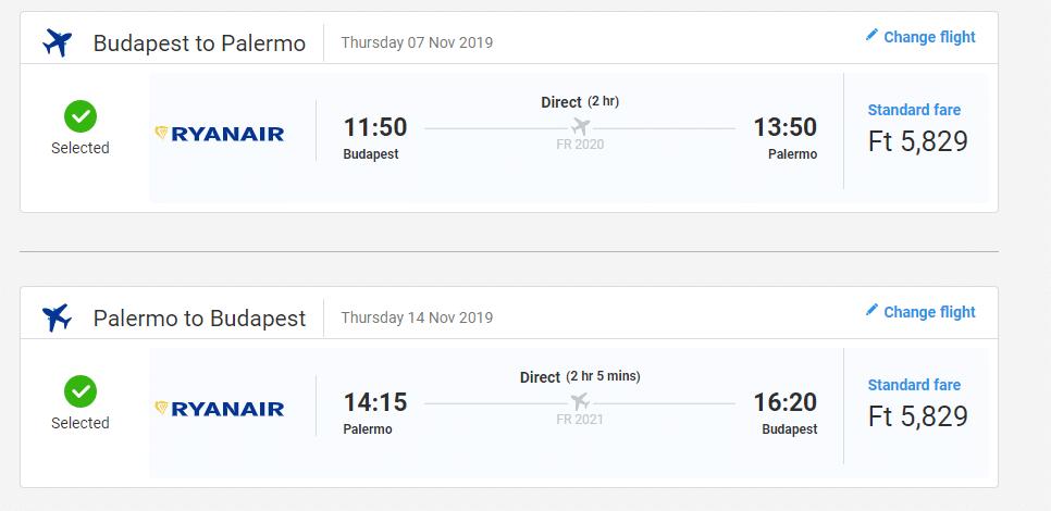 letenky z Budapešti do Palerma