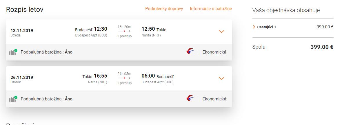 letenky z Budapešti do Tokia