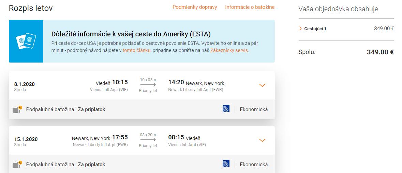 letenky z Viedne do New York-u