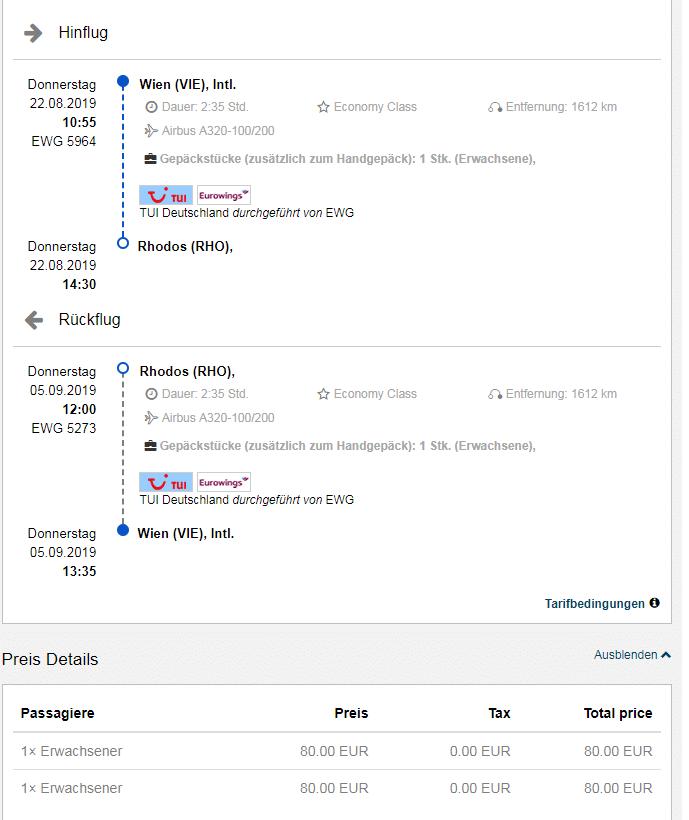 letenky z Viedne na Rodos