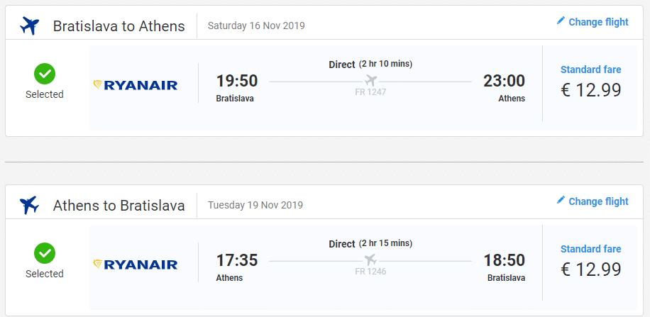 letenky z Bratislavy do Atén