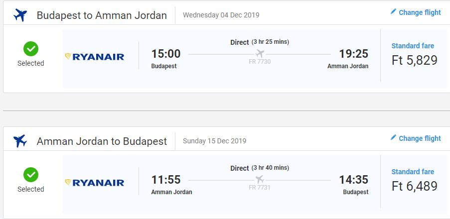 letenky z Budapešti do Ammánu