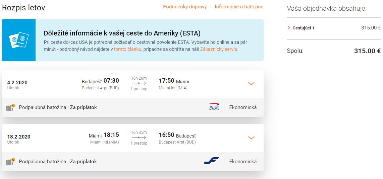 letenky z Budapešti do Miami