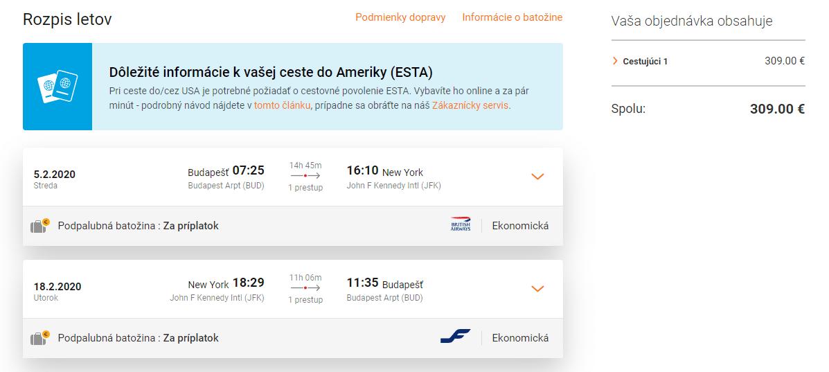 letenky z Budapešti do New Yorku