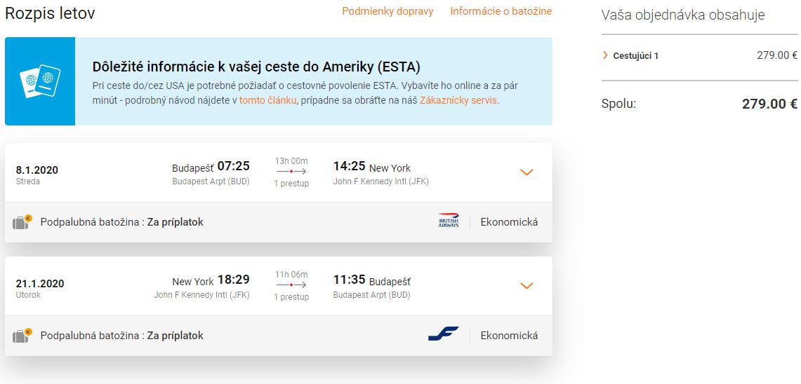 letenky z Budapešti do New York-u