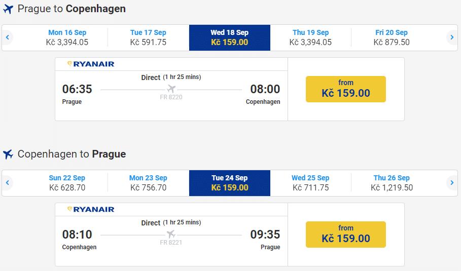 letenky z Prahy do Kodane