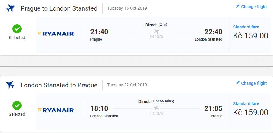letenky z Prahy do Londýna