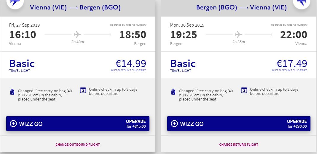letenky z Viedne do Bergenu