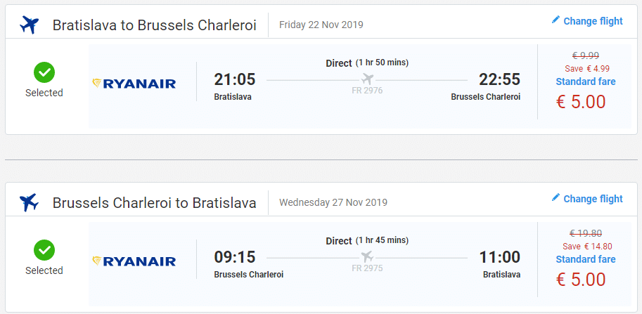 letenky z Bratislavy do Bruselu