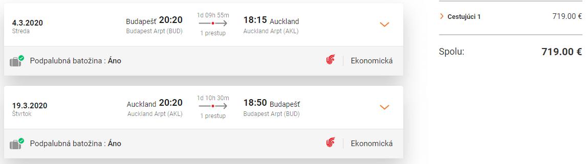 letenky z Budapešti do Aucklandu