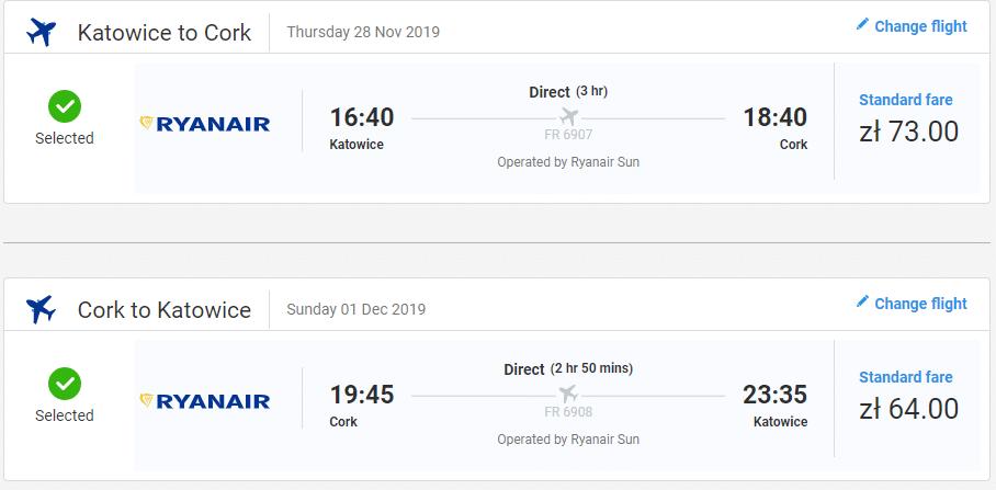 letenky z Katovíc do Írska - Cork