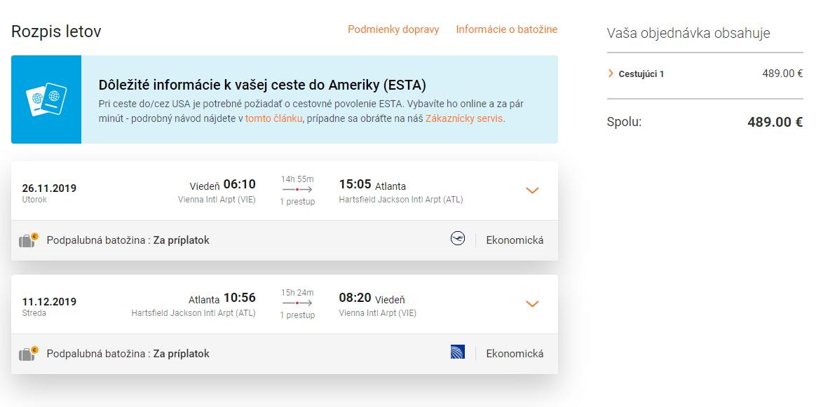 letenky z Viedne do Atlanty