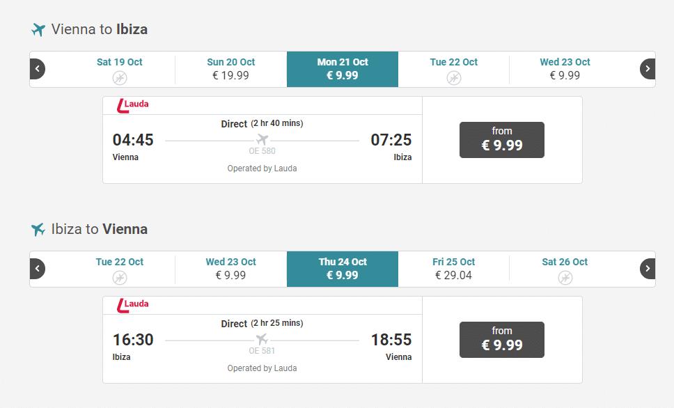 letenky z Viedne na Ibizu