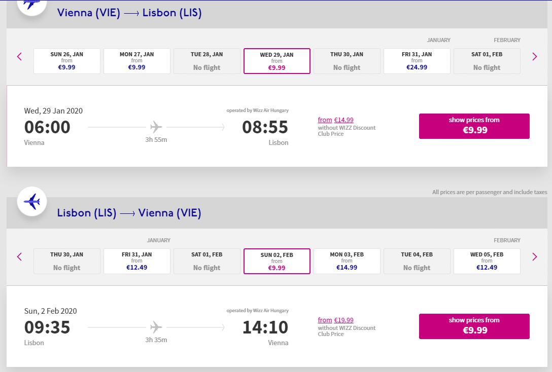 letenky z Viedne do Lisabonu
