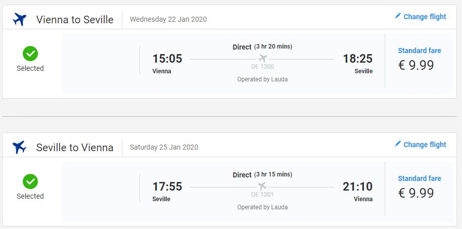 letenky z Viedne do Seville