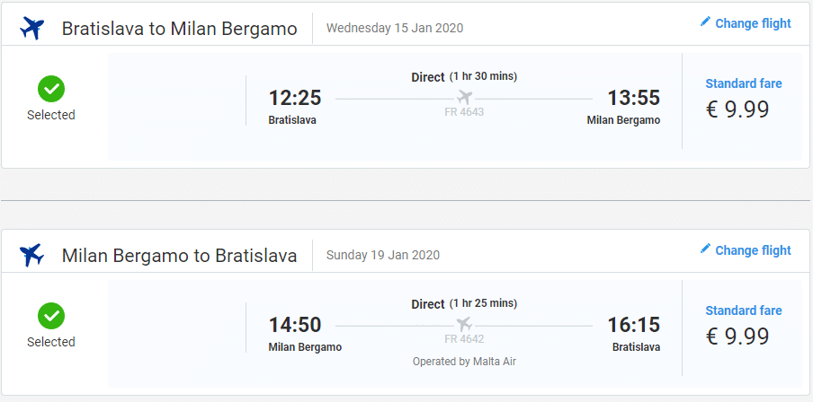 letenky z Bratislavy do Milána