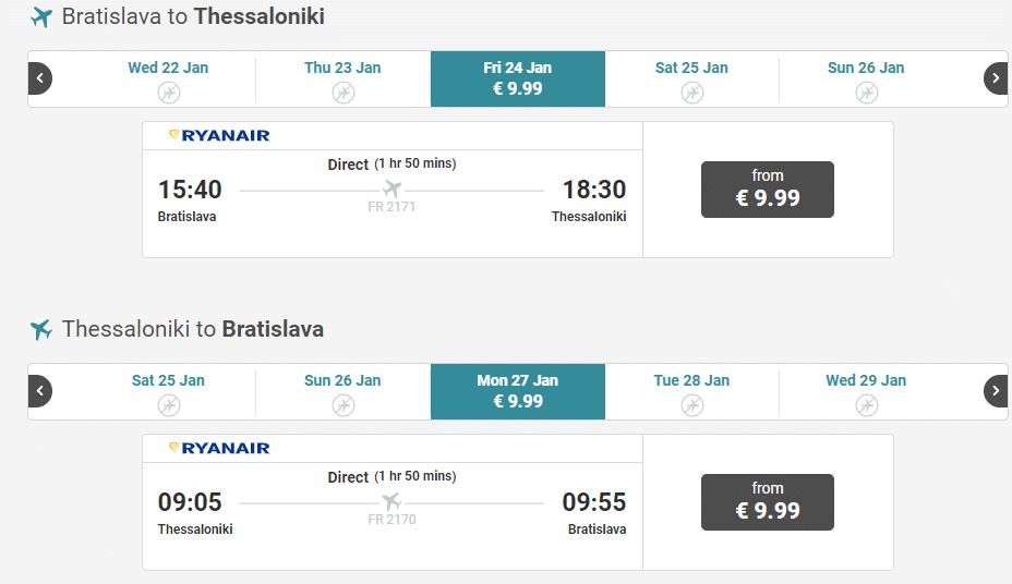 letenky z Bratislavy do Solúna