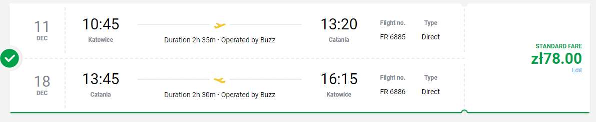 letenky z Katovíc do Catanie