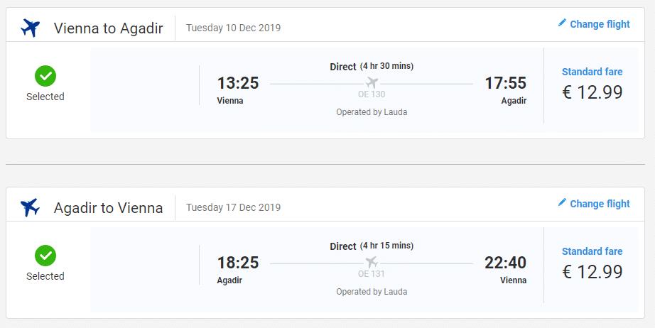 letenky z Viedne do Agadiru