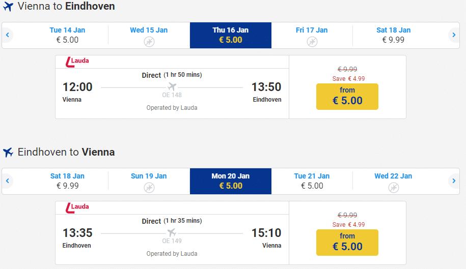 letenky z Viedne do Eindhovenu