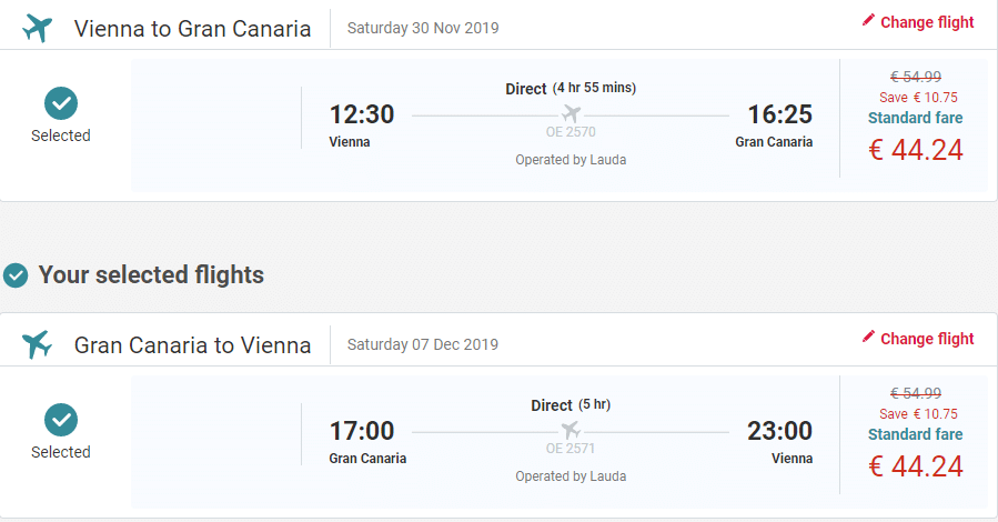 letenky z Viedne do Gran Canaria