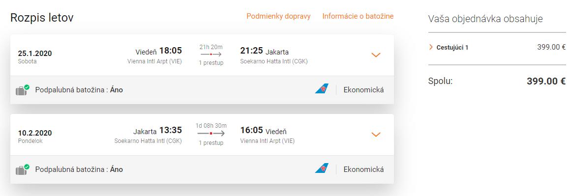 letenky z Viedne do Jakarty