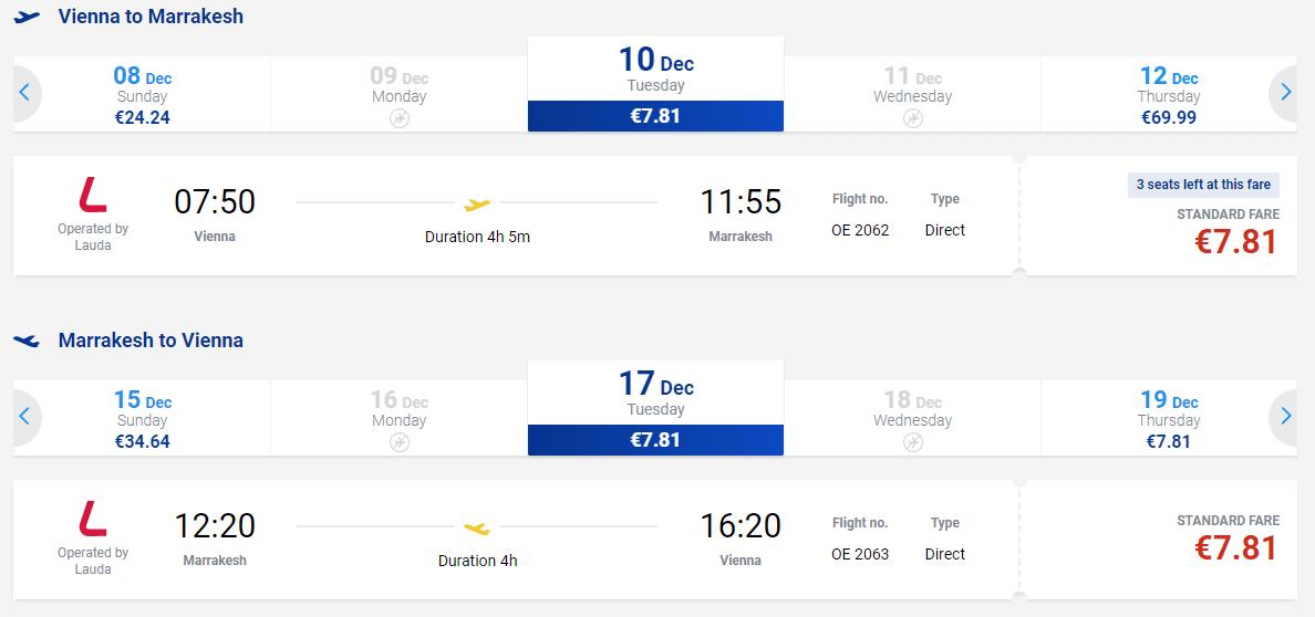 letenky z Viedne do Marakéšu